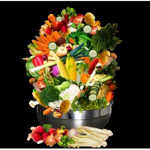 Weekpakket van week 12 VEGETARISCH met groentetas fruittas Vegapakket