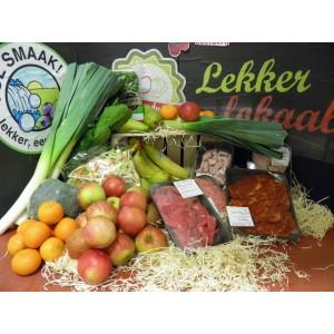 Weekpakket met groentetas fruittas en vlees Lekker eten voor maar € 25,00 p/w